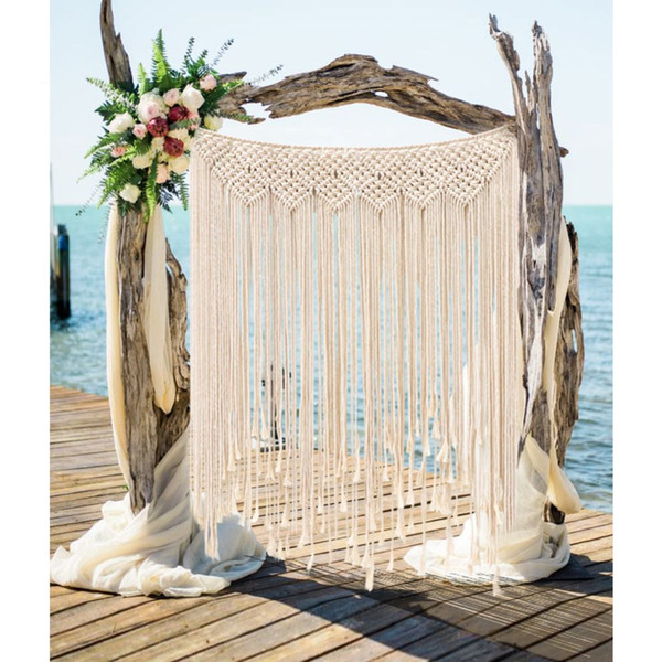 Decoración de la boda Macrame Fondo de la boda 100x115 cm Cuerda de algodón Photo Booth Telón de fondo Macrame Colgante de pared Tejido de algodón