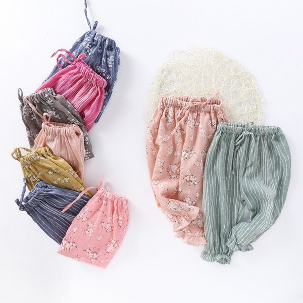 Summer Cotton Linen Girl Pants Baby Clothes Trousers Bottom Air Conditioning Pants Print Flower Casual Striped Children Clothing