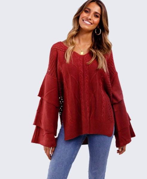 2018 Womens Vintage Sweateres Winter Warm V Neck Oversized Tops Layered Horn Sleeves Chunky Knitted Sweater Jumper Ladies