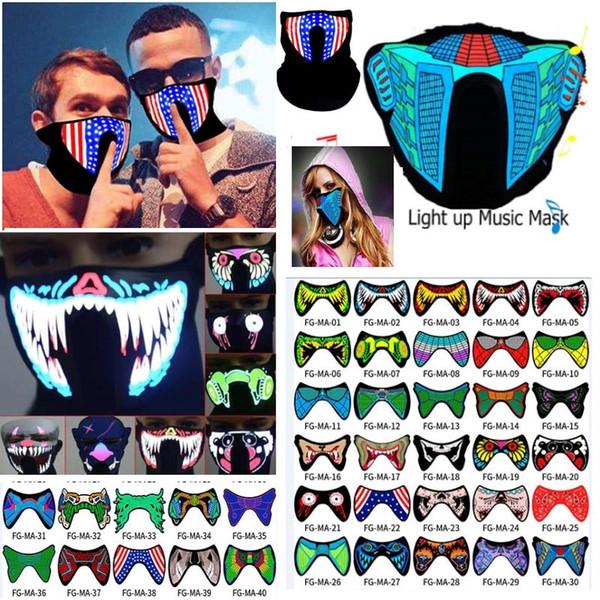 Halloween LED Music Light Airsoft Mask Luminous Flash Brilhante Máscaras de Cosplay Máscaras Mascaras Fontes do partido de Carnaval Christams Decor AN2435