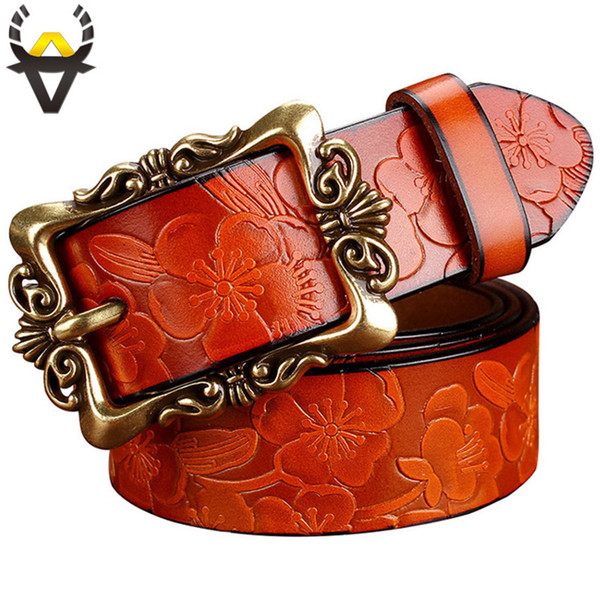 Fashion Wide Genuine Leather Belts For Women Vintage Floral Pin Buckle Woman Belt High Quality Second Layer Cowskin Jeans Strap C19041101