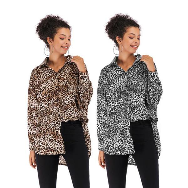 Tops kadın Bahar Yeni Tek göğüslü Seksi Leopar Gömlek Bayan Moda Yaka Uzun Kollu Gömlek M-XL