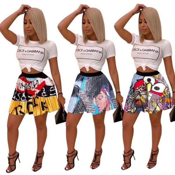 2019 XXL новые женщины лето глаз рот мультфильм печати старинные мини плиссированные юбки party club Мода Активная одежда юбка наряд LD8330
