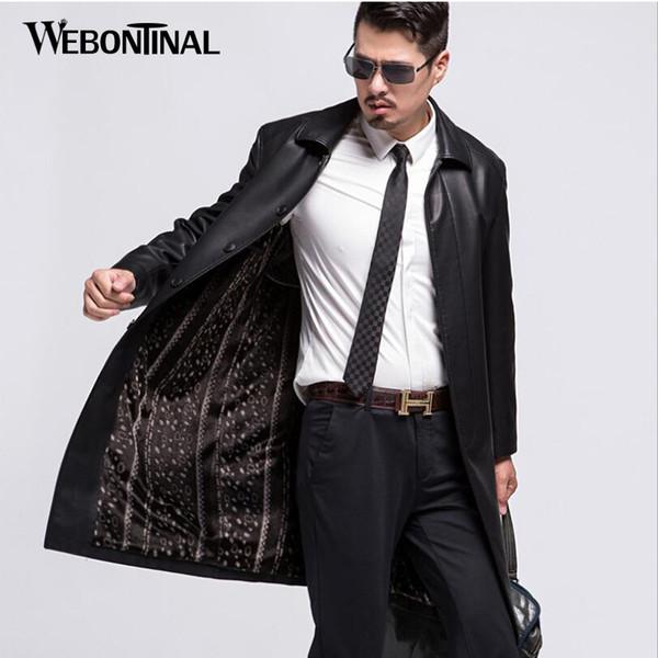 Invierno PU masculino chaqueta de imitación de cuero de los hombres del foso ocasional de la capa de terciopelo caliente para hombre de las chaquetas X-largo Outwear calidad superior EW106