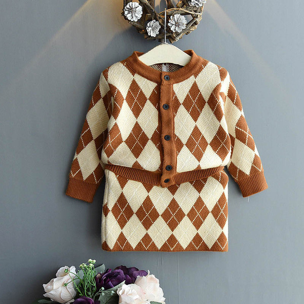 girls suits kids designer clothes girls sweater suits kids outfits autumn winter cardigan+skirts kids sets A7410