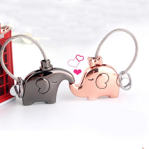 Fashion Elephant Key Chain Keyring Cute Animal Keychain Alloy Couple Lovers Key Ring Keyfob Purse Bag Car Pendant Holder Clip Jewelry Gift