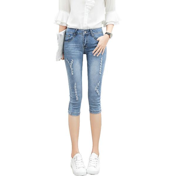 2019 été Denim Capris Femmes Mode Taille Haute Casual Déchiré Trou Denim Pantalon Dames Maigre Stretch Crayon Jeans Pantalon