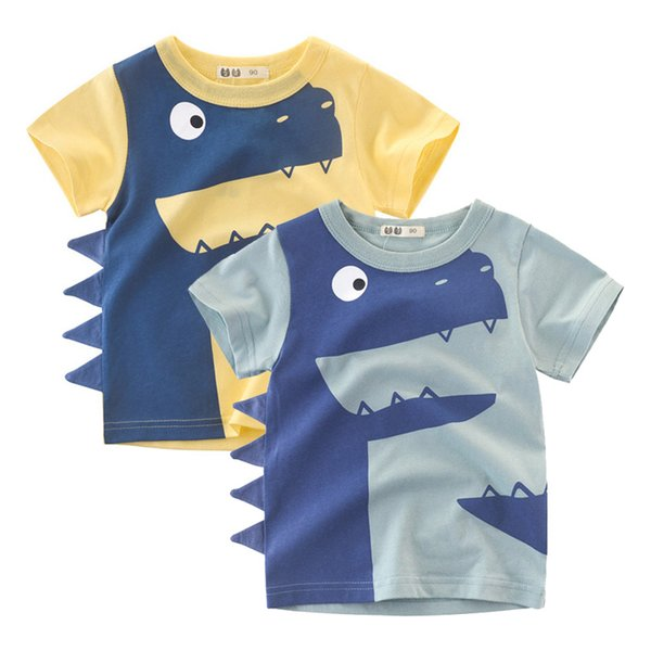 1-6Years Cartoon Dinosaur Print Baby Boys Shorts T Shirt For Summer New Infant Kids Boys Girls Topwear Clothes Cotton