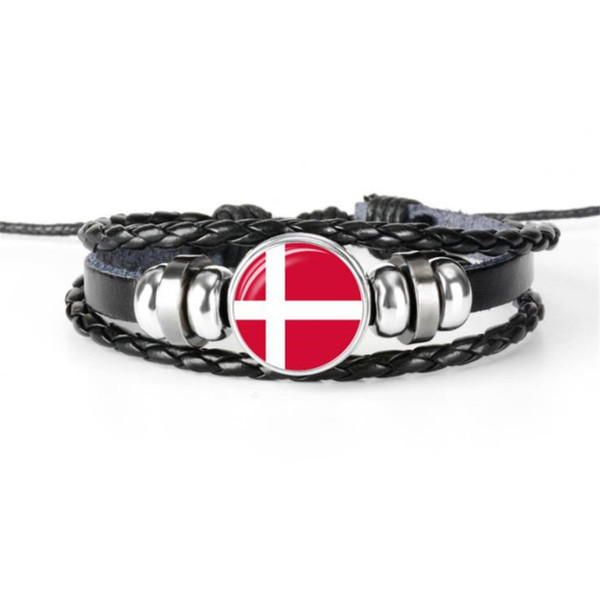 Hot Sale Denmark National Flag World Cup Football Fan Time Gem Glass Cabochon Beacelets For Women Men Wrap Cuff Leather Rope Beadeds Jewelry