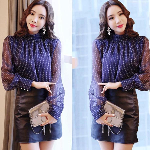 Elegant Button Cuff Stand Collar Women Blouse Base Shirt Office Lady Loose Polka Dot Fashion Cool Chiffon Spring Long Sleeve Top