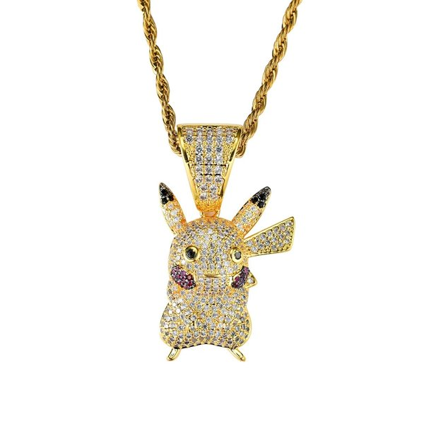 hip hop Pikachu diamonds pendant necklaces for men women japan cartoon Comic luxury necklace jewelry gold plated copper zircons Cuban chain