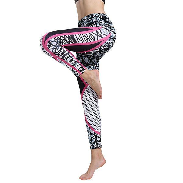 Горячий продавать Цифровые Printed Фитнес Брюки женские геометрические линии высокой талией Hip Yoga Tight тела и дыхания Спортивные штаны Девять центов штаны