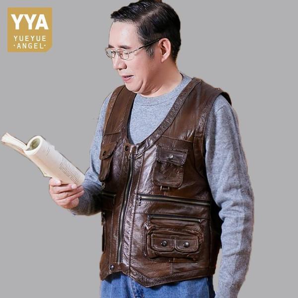 Gilet in pelle di mucca genuino nuovo marchio genuino gilet in vera pelle senza maniche uomo molte tasche giacca moto marrone maschile gilet