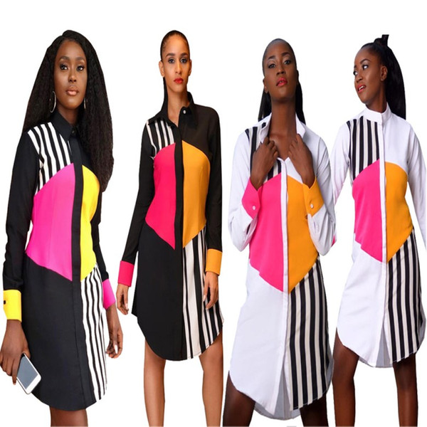 Dresses for Womens Clothes Multicolor dress with long sleeves Party Evening Dress summer t-shirt dress for women Stripe coat klw0537