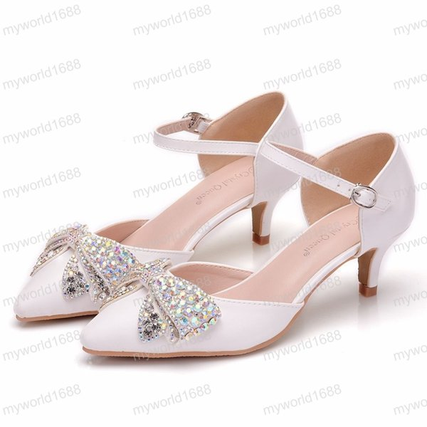 Spring Autumn Women Sandals Sexy White 5CM High Heels Shoes Bow Luxury Rhinestone Wedding Party Mary Jane Shoes
