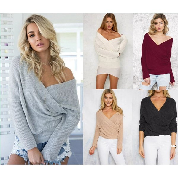 5 color plus size s~xl fashion casual cross batwing long sleeve deep v neck loose pullover knitting women sweater  - from $23.32