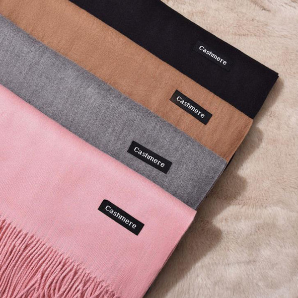 LunaDolphin Frauen Einfarbig Kaschmir Schals Quaste Dame Winter Dicke Warme Schal Hohe Qualität Weiblichen Schal Pashmina Tippet