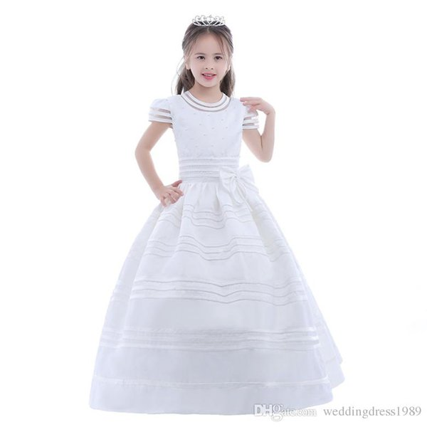 Cute Lace Tulle Flower Girl Dress Sheer Neck Backless Illusion Sleeves Flowergirl Dresses for Weddings with Bow First Communion Gown