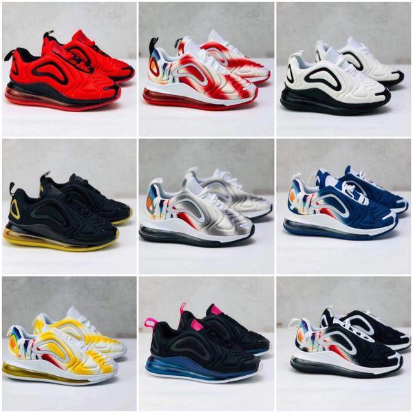 Nike Air Max 720 Kid Кроссовки Обувь освещение Дети Спорт Ортопедические Молодежные Детские тренажеры для новорожденных девочек Для мальчиков Открытый обувь 10 цветов Размер 28-35
