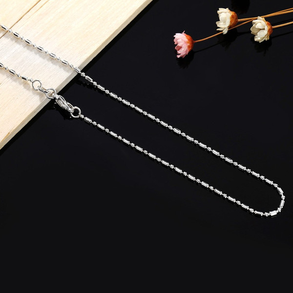 High Quality 925 stamped silver plated Necklace Fashion Silver Jewelry 1mm 16/18/20/22/24/26/28/30 Inches Beads Chain choker