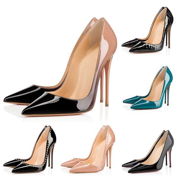 Designer Women Heels Red Bottoms Pumps High Heels Black Nude Pointed Toes Round Red Bottom Dress Wedding Shoes 35-42