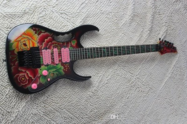 new 7V 77FP2 flower applique sided electric guitar