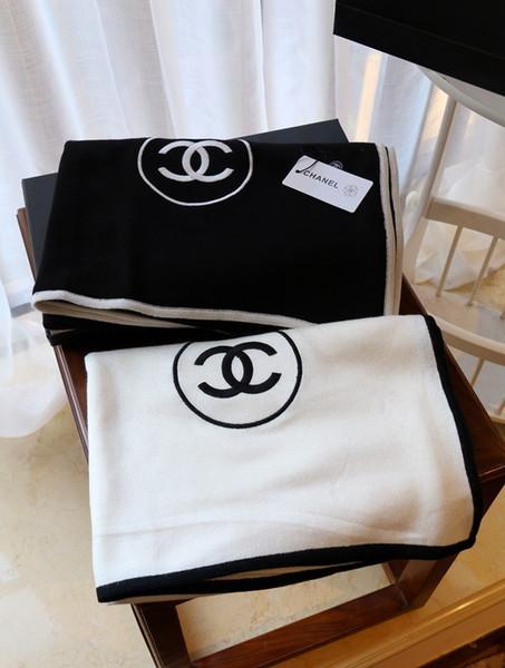Chanel 200x100cm bordado de lana de cachemira Pashmina bufanda para hombre Los hombres bufandas de invierno de las mujeres del mantón para mujer del anillo del poncho SCAFA202