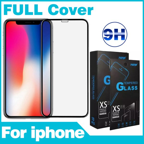 Tempered Glass Film For iPhone 6 7 8 X XR XS Silk screen Front Phone Screen Protectors color box For LG Moto Nokia