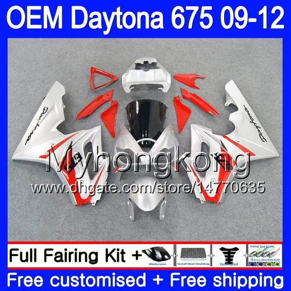 Injection For Triumph Daytona 675 2009 2010 2011 2012 Body 323HM.37 Daytona-675 Daytona675 Daytona 675 silvery red 09 10 11 12 OEM Fairing