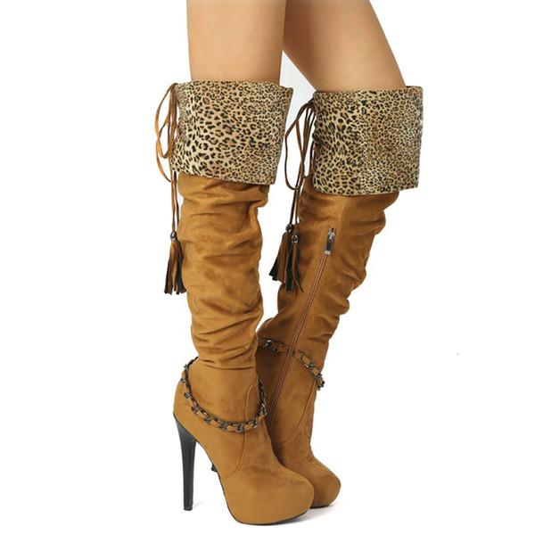 Venta caliente-Botas clásicas de rodilla de tacón alto para mujer Botines de invierno cálidos de moda Botines de fiesta de gran tamaño con flecos Zapatos de botín N082