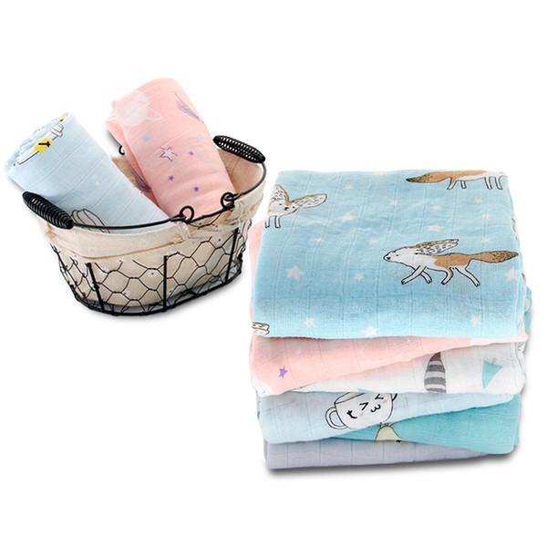 100% Bamboo Fiber Baby Blanket Cute Cartoon Pattern Swaddle Super Soft Baby Warp Newborn Lovely Blanket Bath Towel