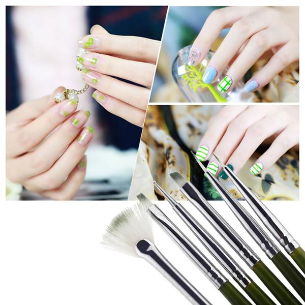 H11251 6pcs Nail Art Design Ainting Tool Pen Polish Brush Set Kit DIY Professional Green Nail Art Diseno Ainting Herramienta