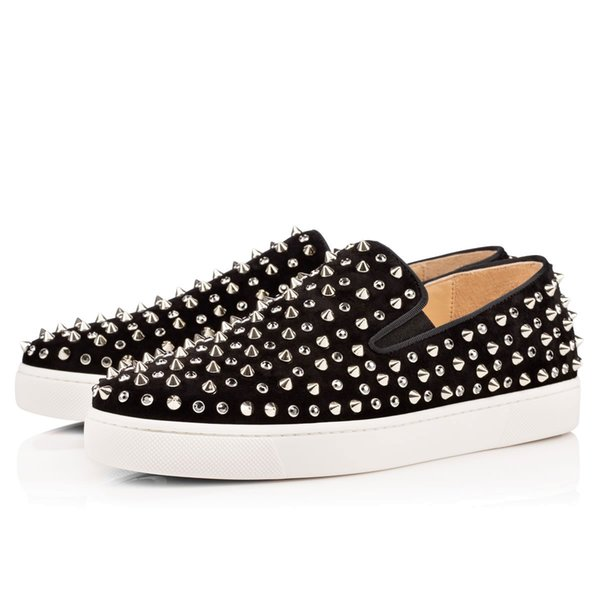 2019 Designer Fashion Luxury Red Bottom Studded Spikes Flats Shoes for Men Women Black Party Lovers Genuine Leather Casual Sneakers