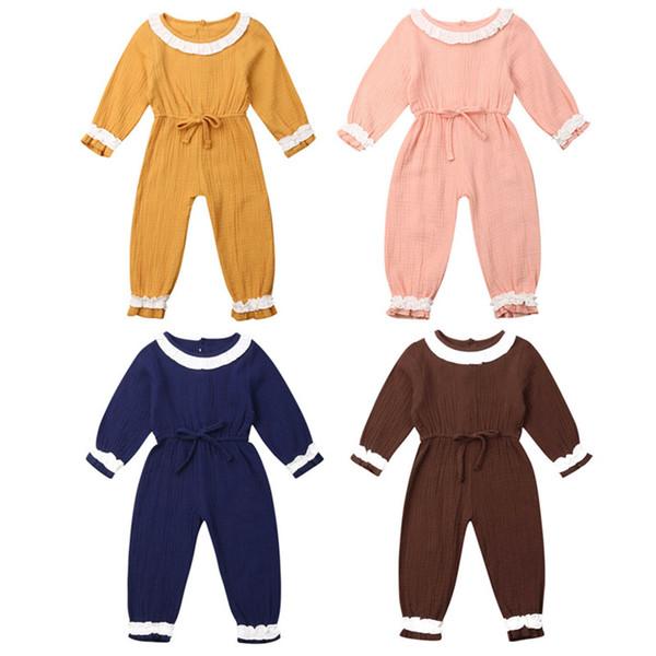 1-3Years enfant en bas âge Vêtements de bébé fille manches longues Romper Jumpsuit Salopette Dans l'ensemble Outfit