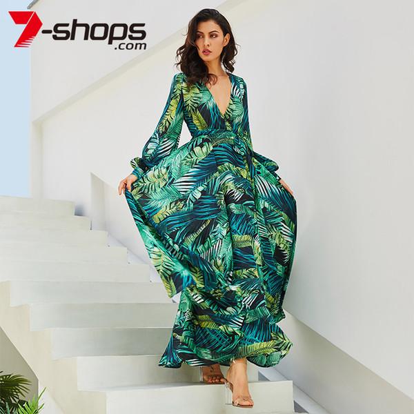 7-lojas de verão praia maxi dress mulheres profundo decote em v impressão party dress lace-up sexy ladies bohemian vestidos elegante longo