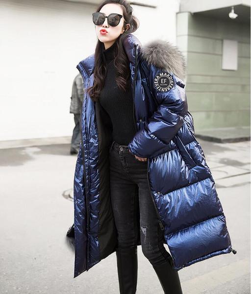 2019 Womens Fashion Down Parkas nueva chaqueta gruesa cálida y a prueba de viento con sección larga y delgada color sólido Chaqueta de pato blanca para mujer