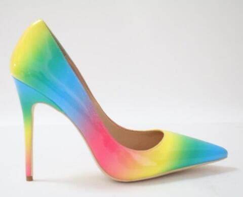 Real Photo Women Rainbow Color Pointed Toe Slip On Shallow Pumps Summer Fashion High Thin Heel 10cm Dress Shoes Free Shipping