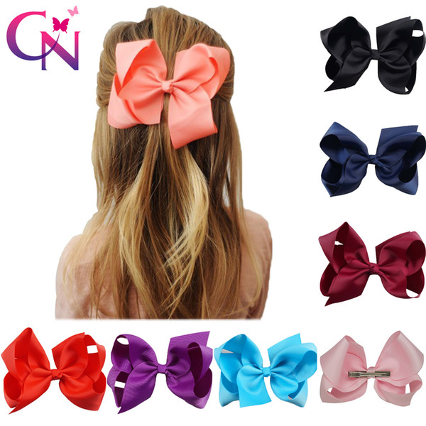 "30 Pcs/lot 6"" Plain Ribbon Hair Bows With Hair Clip For Girls Kids Handmade Boutique Knot Jumbo Bows Hairpins Hair Accessories J190507"