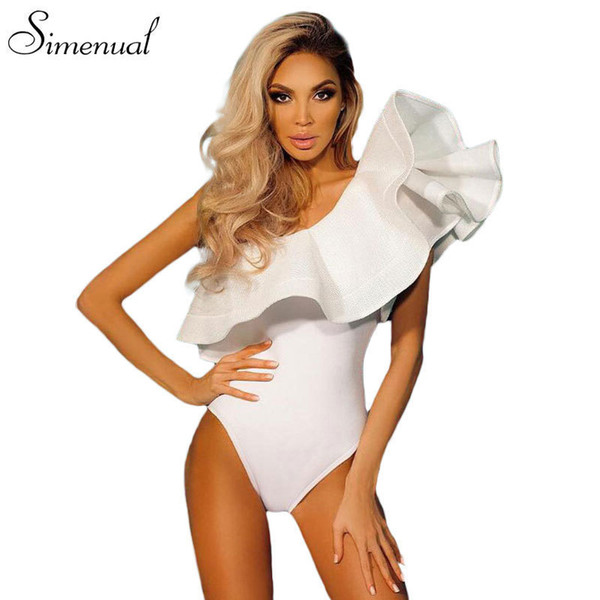 One Shoulder Ruffles Fitness Bodysuit Women Clothing Fashion Sexy Hot Slim Bodycon Jumpsuits Solid Ladies Bodysuits Rompers Q190529