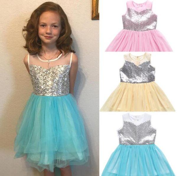 Baby Mädchen Pailletten Kleid Prinzessin Ballkleid Kleider Bowknot Party Sommer Casual Dress ärmellose Unregelmäßigkeit Kleid KKA6855