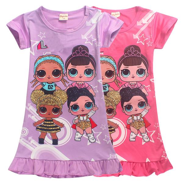 Summer 4-12t Kids girls dresses 2 colors lol dolls Printed girls princess dress kids designer clothes girls SS218