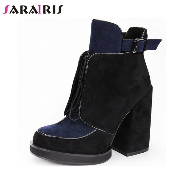 SARAIRIS Brand New Mixed Color Belt Buckle Zip Cross Tied High Heels Shoes Woman Casual Party Office Spring Autumn Ankle Boots