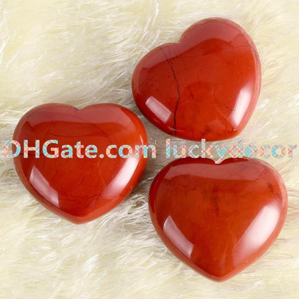 20Pcs Sale Hand Carved Natural Red Jasper Crystal Gemstone Polished Heart Smooth Palm Stone Pocket Healing Wicca Meditation Home Altar Tool