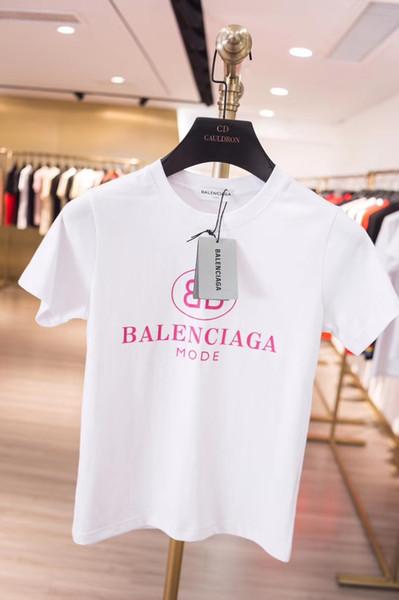 Um novo gola redonda logotipo da letra BB imprimir magro slim senhora T-shirt com mangas curtas