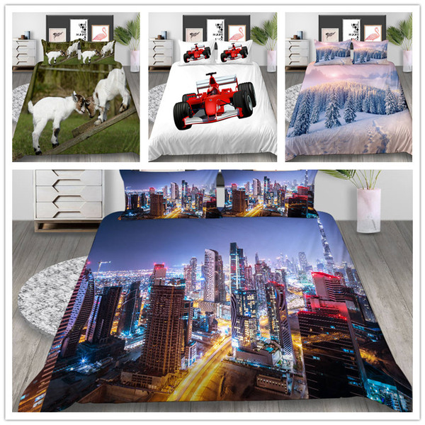 Lovely Animals 3D Comforter Bedding set Duvet Cover Set King Twin Queen Size with Sheep Modern Cities Racing car of Bedding Suit