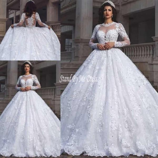 Luxury Dubai Arabic Lace Applique Plus Size Wedding Dresses Long Sleeves Illusion Scoop Neck Wedding Dresses Bridal Gowns robe de mariée