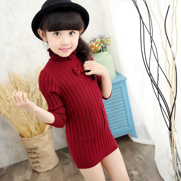 Hot Girl Clothing 2019 Explosion Models Big Children Fashion Lining High Collar Pullover Long Three Color Sweater
