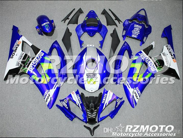 4 Free Gifts New Injection ABS Fairing kits 100% Fit for YAMAHA YZFR6 08 09 10 11 12 13 14 15 YZF R6 2008-2015 YZF600 set Blue Black KJ4