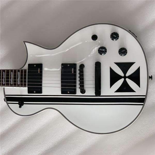 Alta qualidade guitarra elétrica branca, pintura preto e branco, embutimento cruzado, escala de jacarandá, entrega gratuita