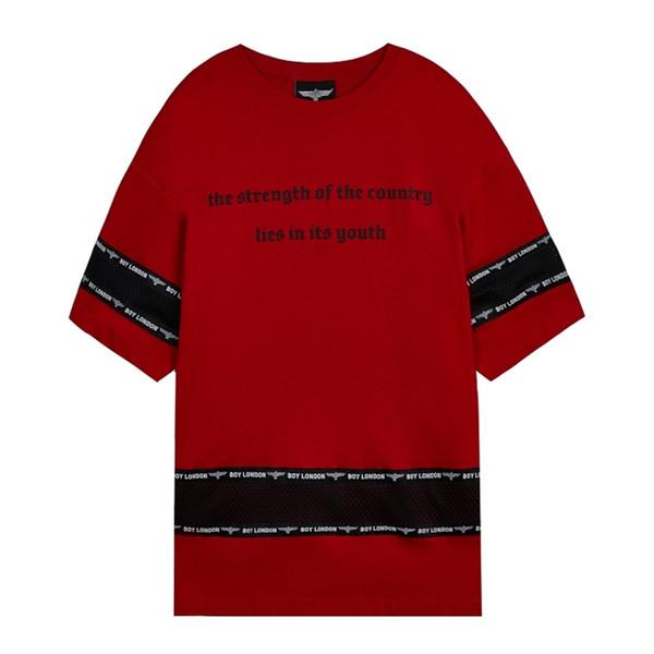 19SS Garçon Londres Mens Designer T Shirt De Mode Hommes Femmes De Haute Qualité À Manches Courtes Designer Garçon D'été De Luxe Couples Tees Rouge